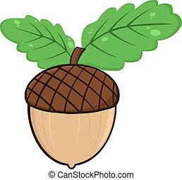 Acorn With Oak Leaves Cartoon