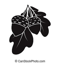 Acorns icon in black style isolated on white background. Canadian Thanksgiving Day symbol stock vector illustration.
