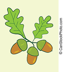 Acorns - three acorns with leaves - vector illustration