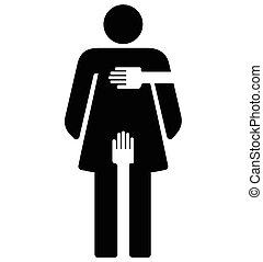 acoso sexual, mujer, -, señal