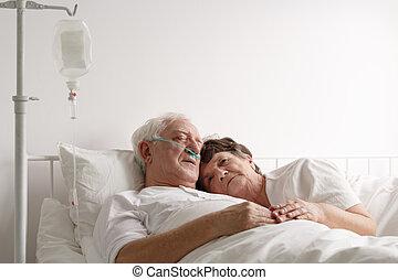 acostado, enfermo, marido, luego