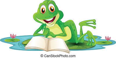 acostado, mientras, libro, lectura, rana