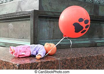 acostado, muñeca, globo, un, escena, de, crimen, hanau., alemania