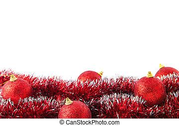 acostado, pelotas, oropel, rojo, navidad