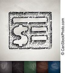 acount balance icon. Hand drawn vector illustration