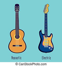 Acoustic and electric guitar in color