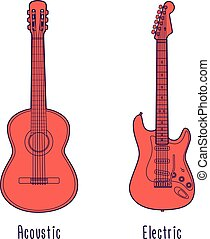 Acoustic and electric guitar in red color