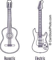 Acoustic and electric guitar outline