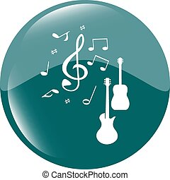 Acoustic and electric guitar sign icon. Music symbol. Web shiny button vector illustration