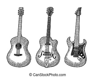 Acoustic and electric guitar. Vintage vector black engraving illustration