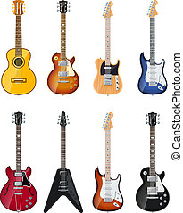 acoustic and electric guitars set of vector icon...