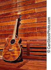 acoustic brown guitar in wooden stripes - acoustic brown...