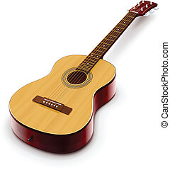 acoustic classic guitar vector illustration isolated on...
