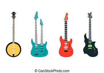 acoustic electric guitar vector icons set isolated illustration guitars silhouette music concert