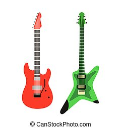 acoustic electric guitar vector icons set isolated illustration guitars silhouette music concert sound retro musical bass object classic jazz
