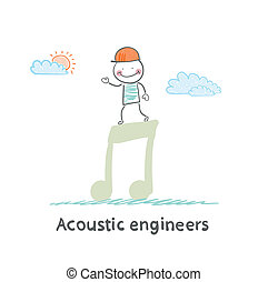 Acoustic engineer standing on a big note