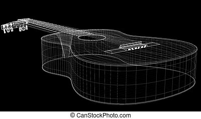 Acoustic Guitar 3D model body structure, wire model
