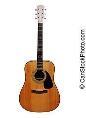 Acoustic Guitar - Acoustic guitar. Isolated image with...