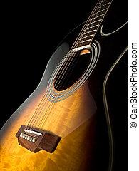 Acoustic guitar - acoustic guitar over black background , ...