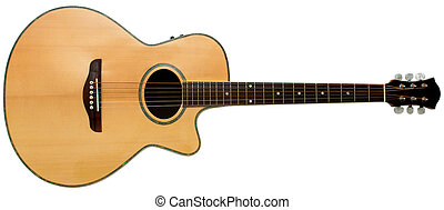 Acoustic guitar - An acoustic guitar isolated on white...
