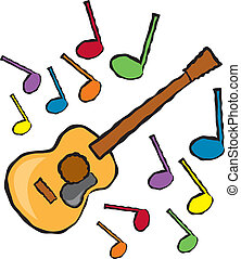 Acoustic Guitar and Music Notes - A cartoon depiction of an...