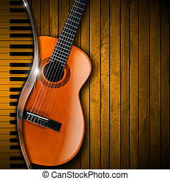 Acoustic brown guitar and piano against a rustic wood background