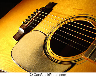 Acoustic Guitar - Close view of an acoustic guitar at angle...