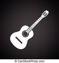 Acoustic guitar icon. Black background with white. Vector ...