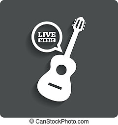 Acoustic guitar icon. Live music symbol. Flat icon -...