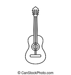 Acoustic guitar icon, outline style - Acoustic guitar icon...