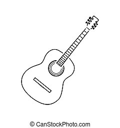 Acoustic guitar icon. Thin line design. Vector illustration.