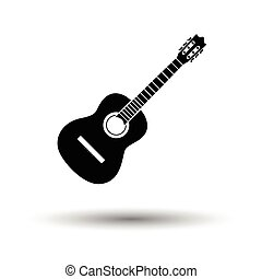 Acoustic guitar icon. White background with shadow design. ...
