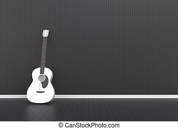 Acoustic guitar in a black room, 3D rendering