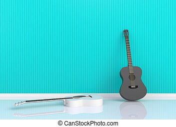 Acoustic guitar in a blue room, 3D rendering