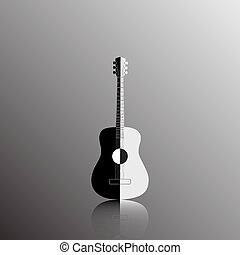 Acoustic guitar in black and white color