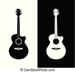 Acoustic Guitar in black and white