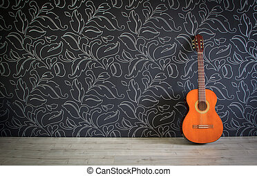 Acoustic guitar in empty room background