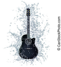 Acoustic Guitar in Water Isolated on White Background