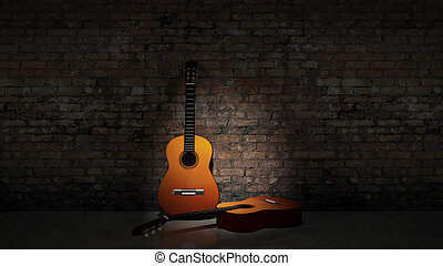 Acoustic guitar leaning on grungy w