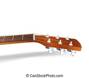 acoustic guitar neck on white. vector illustration
