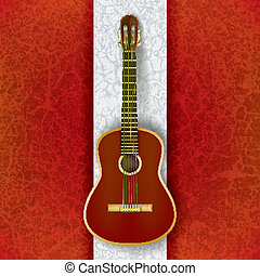 acoustic guitar on abstract grunge white red background