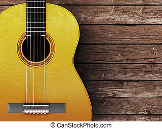 Acoustic guitar on wood background - 3D Render
