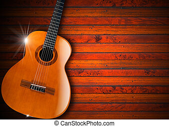 Acoustic Guitar on Wood Background - Acoustic brown guitar...