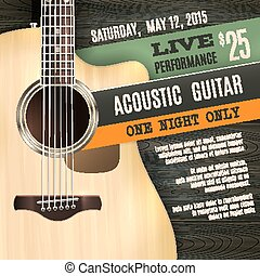 Acoustic Guitar Poster - Indie musician concert show poster...