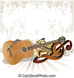 acoustic guitar rests on the treble clef trumpet and saxophone