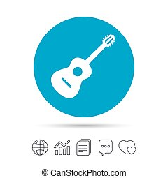 Acoustic guitar sign icon. Music symbol.
