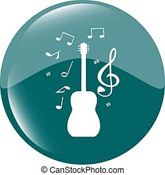 Acoustic guitar sign icon. Music symbol. Web shiny button vector illustration