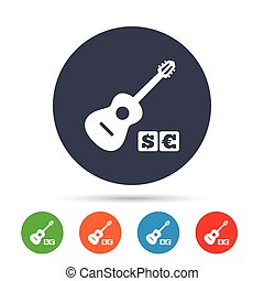 Acoustic guitar sign icon. Paid music symbol.