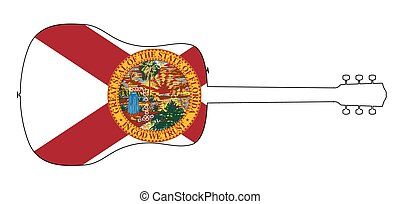 A typical acoustic guitar silhouette outline isolated over a white background with the Florida state flag
