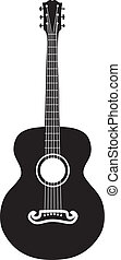 Acoustic guitar silhouette - Retro acoustic guitar six...